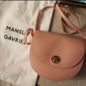 NEW Mansur Gavriel Mini Leather Saddle Bag (Blush)